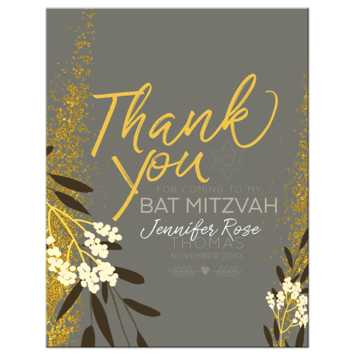 Gold Grey Ivory Wildflower Floral Bat Mitzvah Flat Thank You Card