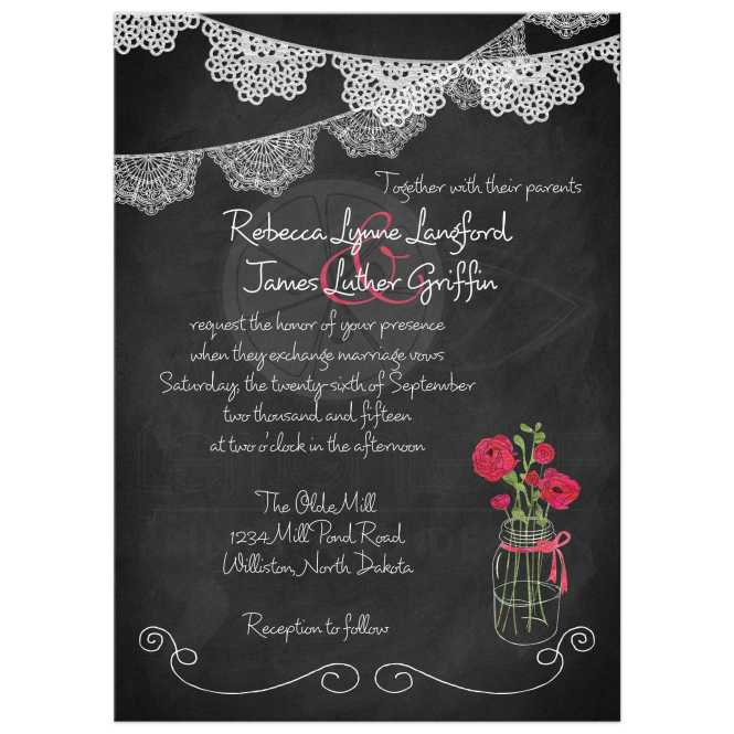 Mason Jar Wedding Invitation Chalkboard Lace Bunting Watercolor Fuchsia Pink Green White