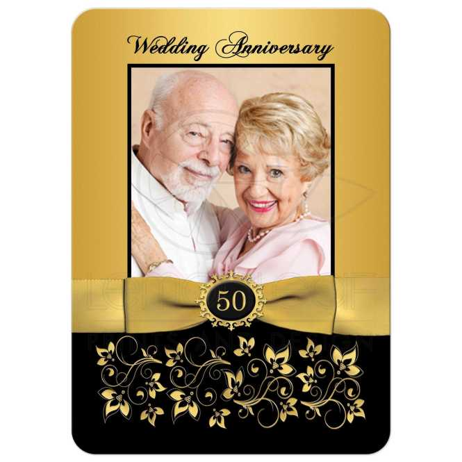 The Golden Years Wedding Anniversary Invitation Rounded Corners