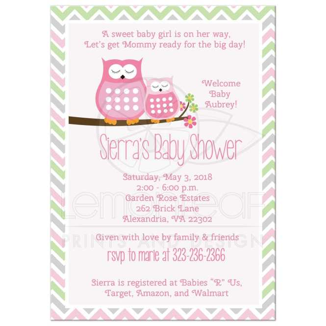 Pink Owls Chevron Stripe Baby Shower Invitations