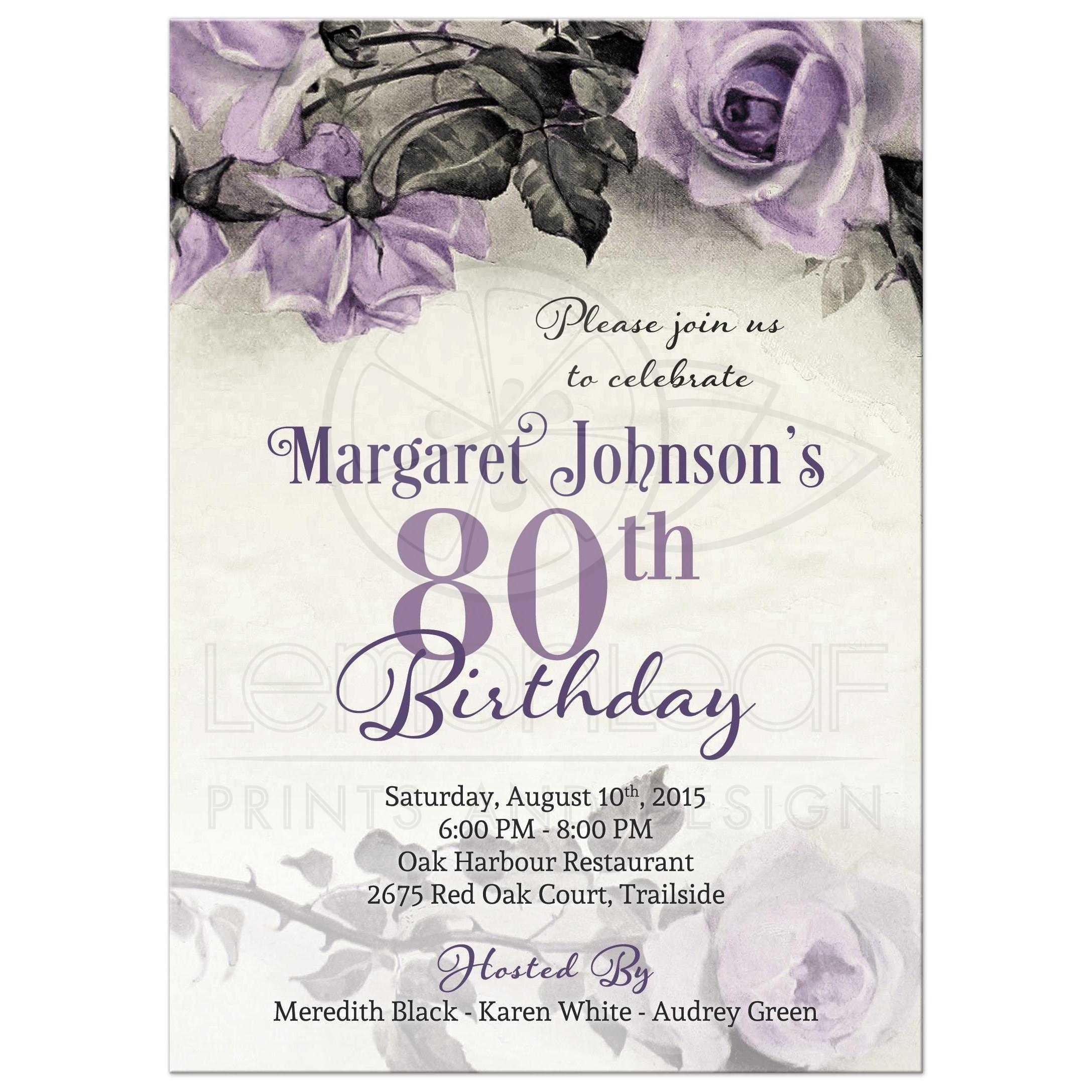 80th birthday invitation vintage purple sterling silver rose