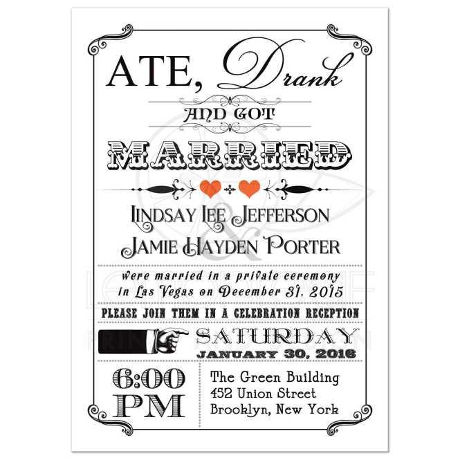 Post Wedding Invitation 7 Vintage Poster Chalkboard Scrolls Orange
