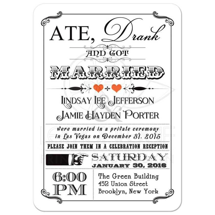 Black And White Vine Poster Post Wedding Reception Invitation With Orange Hearts