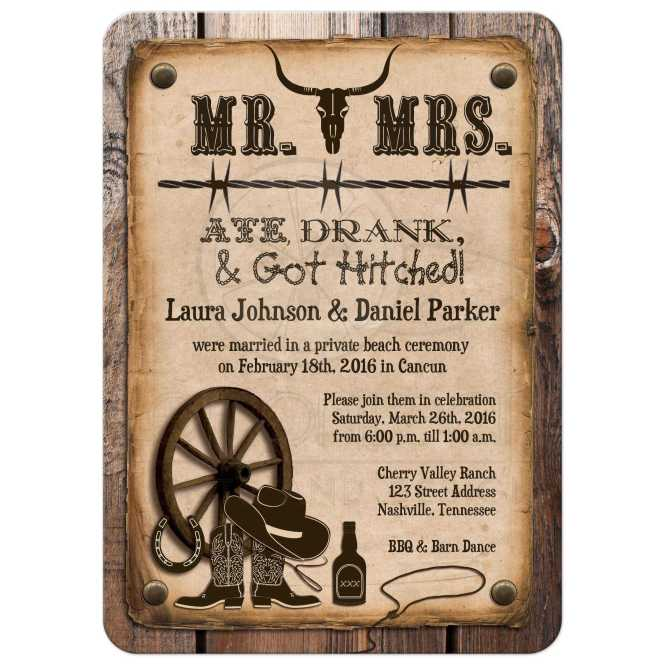 Post Wedding Invitation Rustic Mr Mrs Western Ate Drank Got Hitched