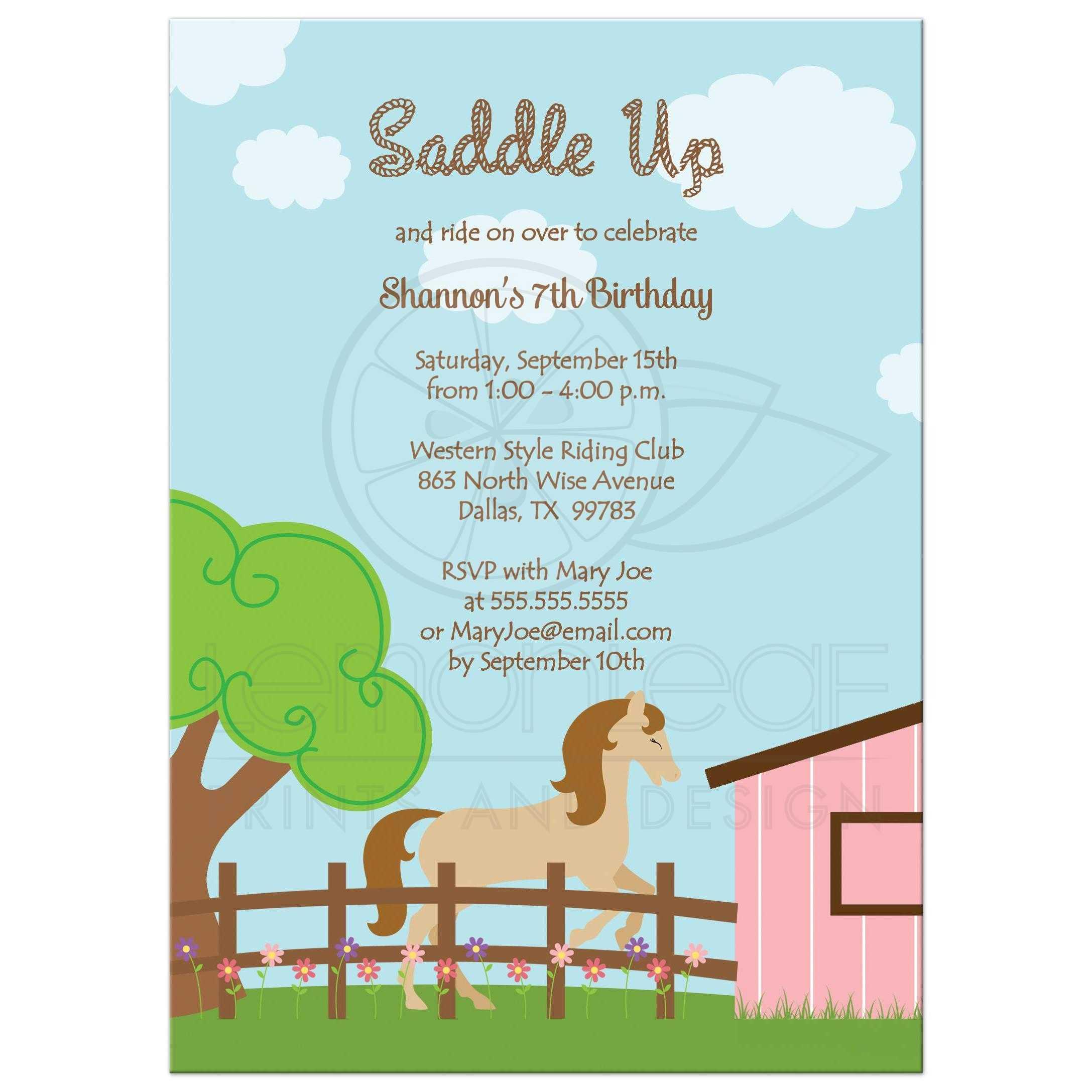 birthday party invitation horse theme girl birthday