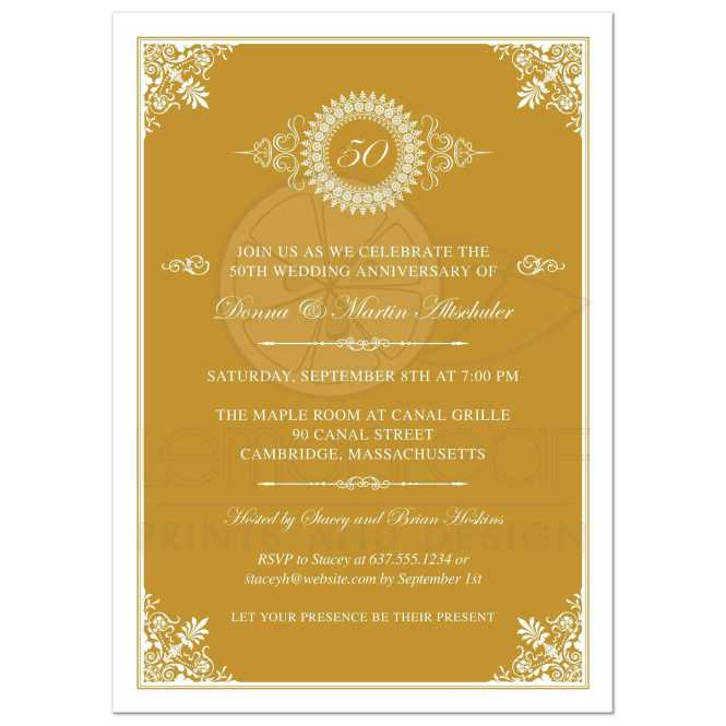 Wedding Anniversary Party Invitation Gold 50th Ornate Medallion