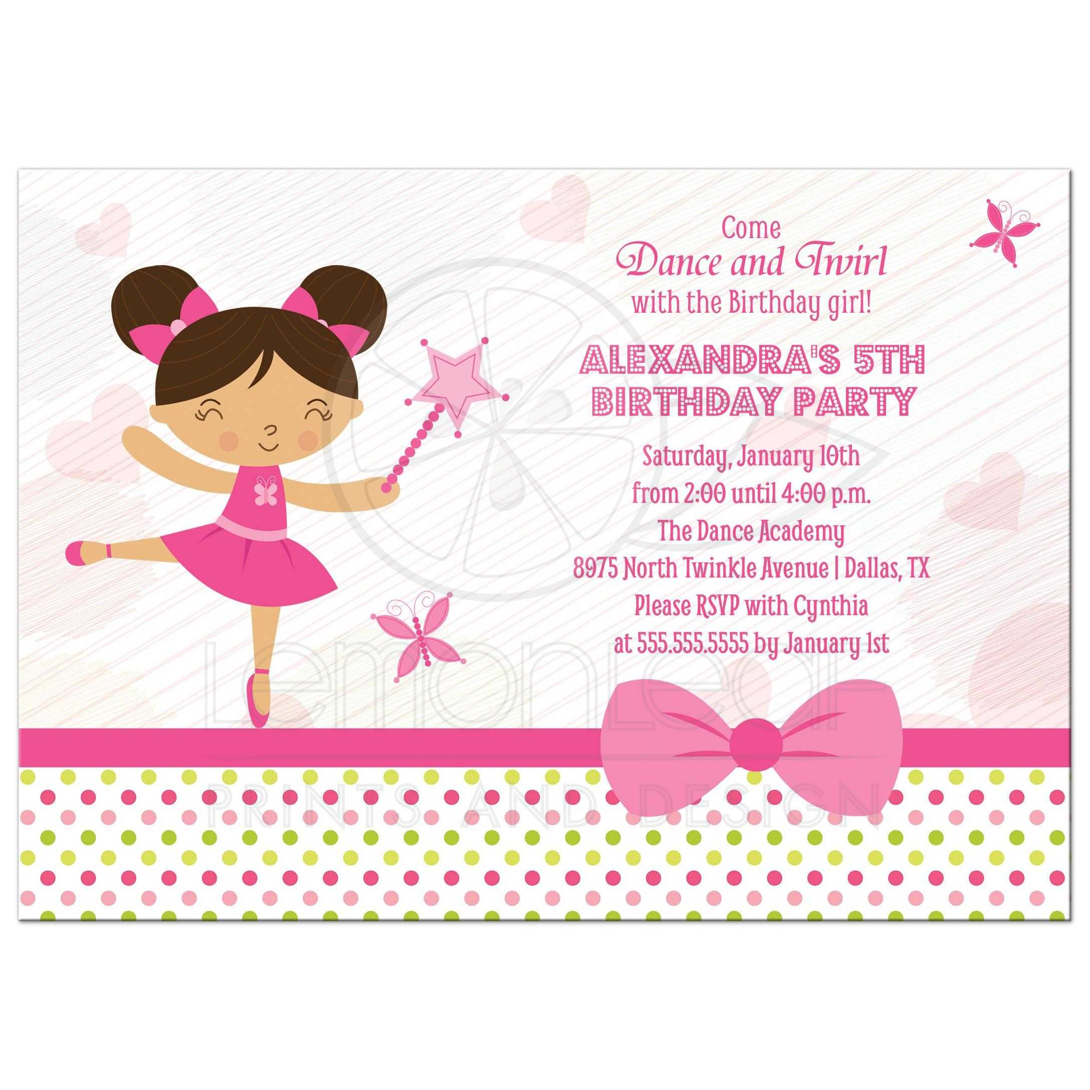 birthday party invitation girls pink ballerina fairy brown hair