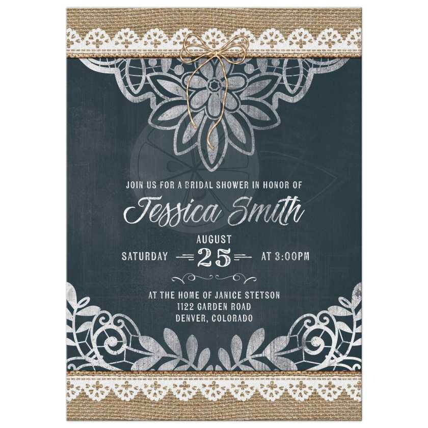 Rustic Burlap Lace And Chalkboard Trendy Bridal Shower Invitation Front