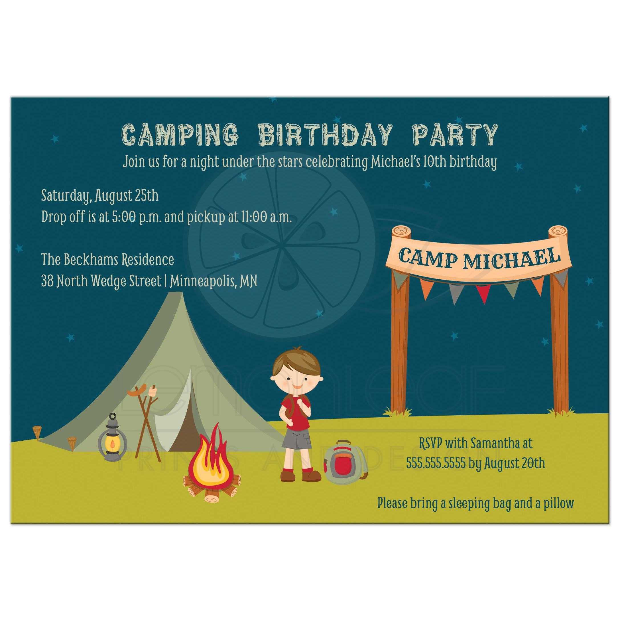 birthday party invitation boy s outdoor camping brown hair