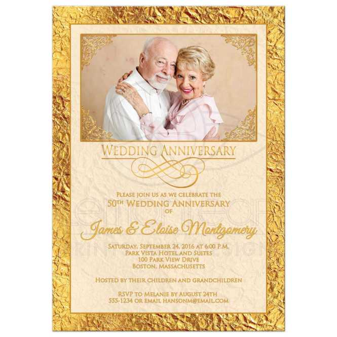 50th Wedding Anniversary Photo Invitation Ivory Gold Scrolls Faux Foil