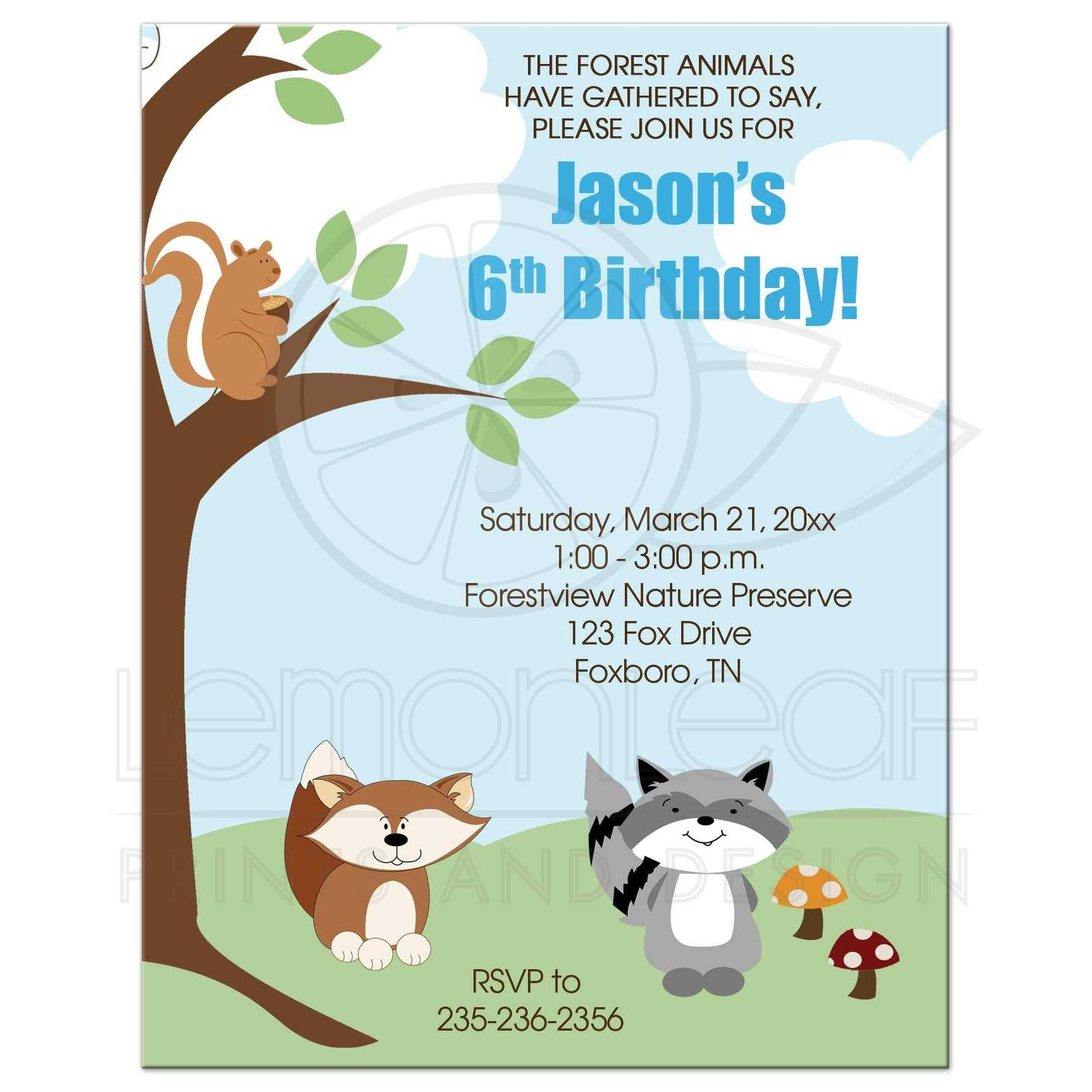 enchanted forest woodland fox and raccoon birthday invitation