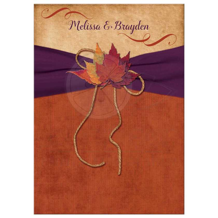 Rustic Burnt Orange Wedding Invitation With Autumn Leaves And Purple Ribbon