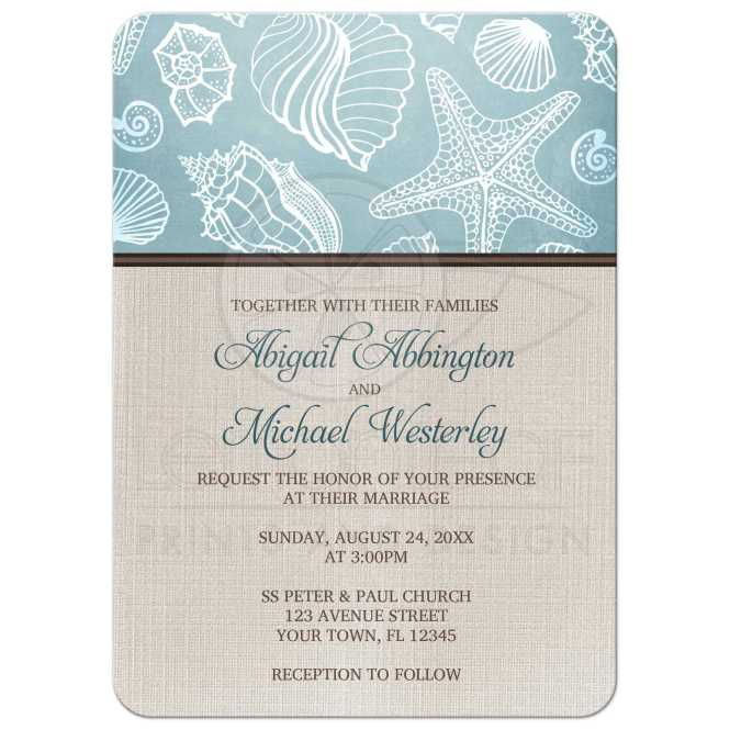 Printable Beach Bridal Shower Invitation Rustic Wedding Starfish
