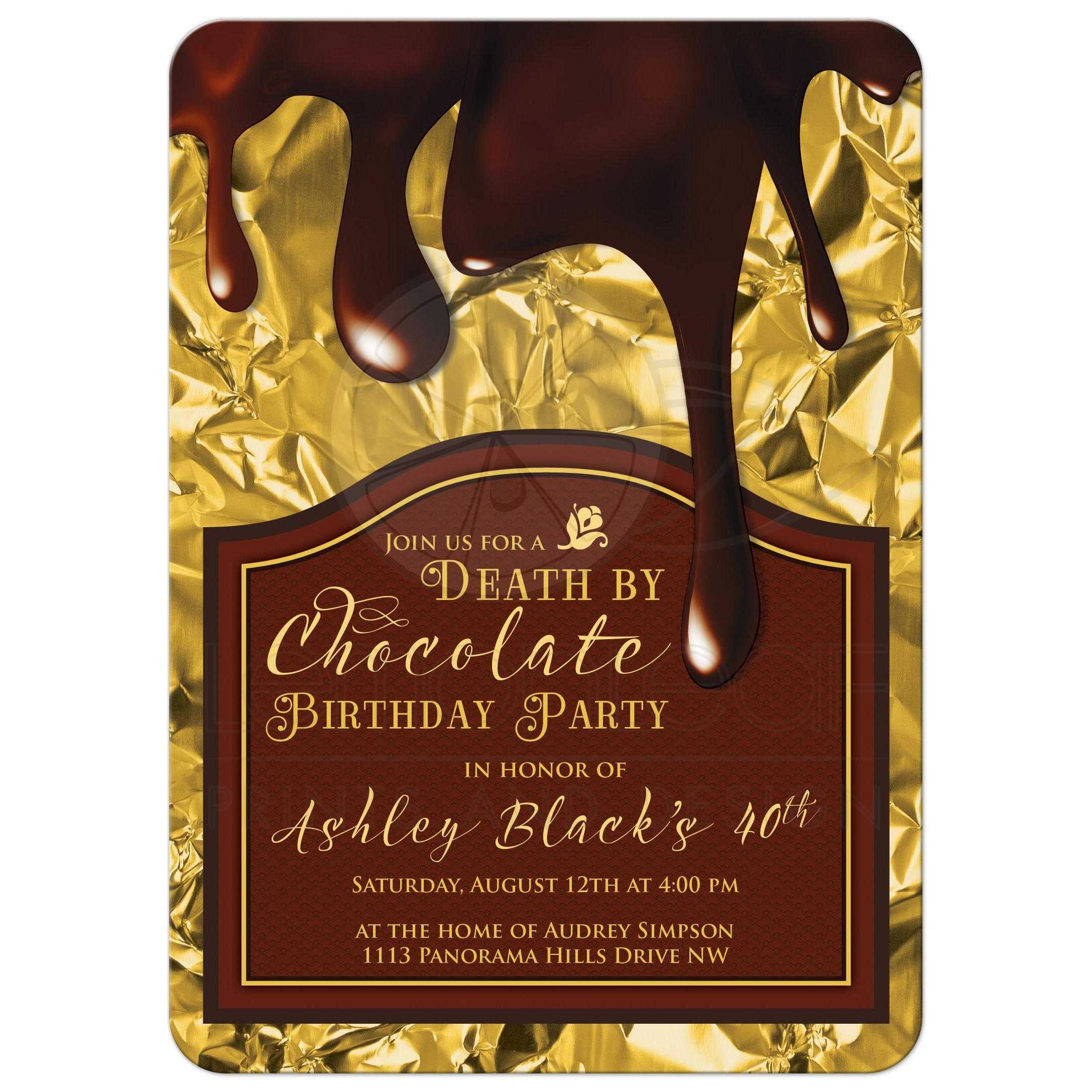 death by chocolate 40th birthday party invitation