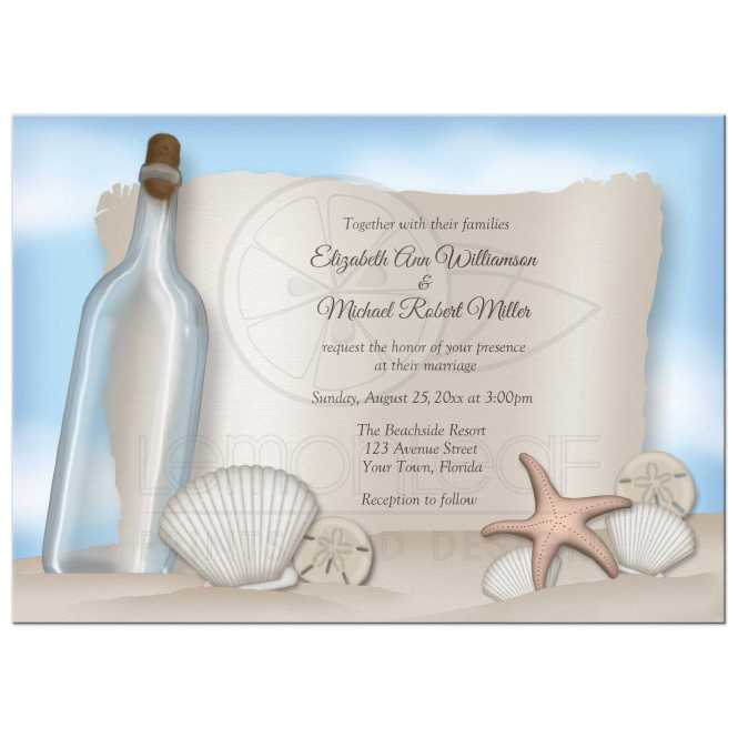 Wedding Invitations Beach Message From A Bottle