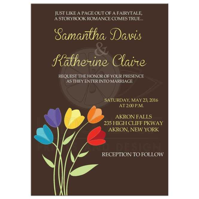 Tulip Multi Color Rainbow Wedding Invitation Brown