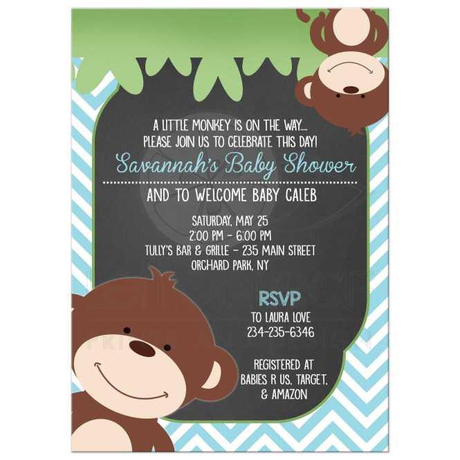 Monkey Chevron Chalkboard Baby Shower Invitation Blue