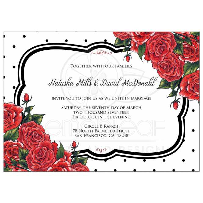 Wedding Invitation Black Polka Dots With Red Roses
