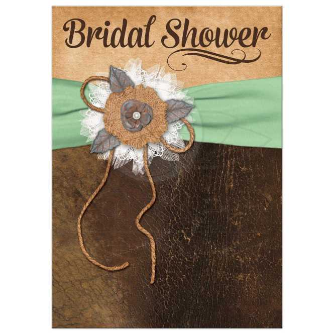 Bridal Shower Invite Leather Lace Mint Brown Shabby Chic Printed Ribbon Flowers