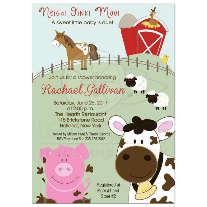 A7 Farm Animals Cow Horse Sheep Pig Baby Shower Invitation