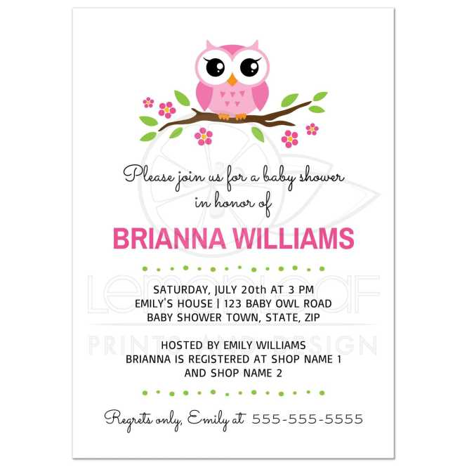 Cute Pink Owl Baby Shower Invitation