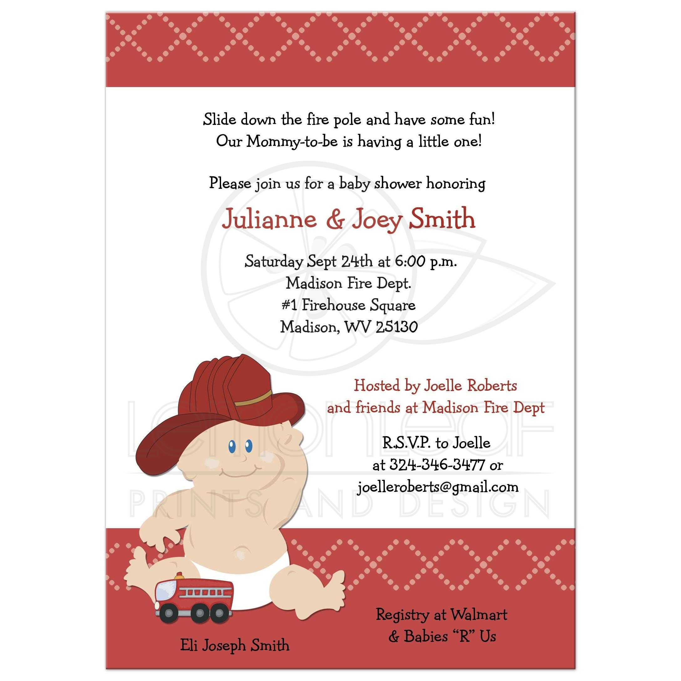 fire engine birthday party invitation. Baby Firefighter Fire Truck Baby Shower Invitation