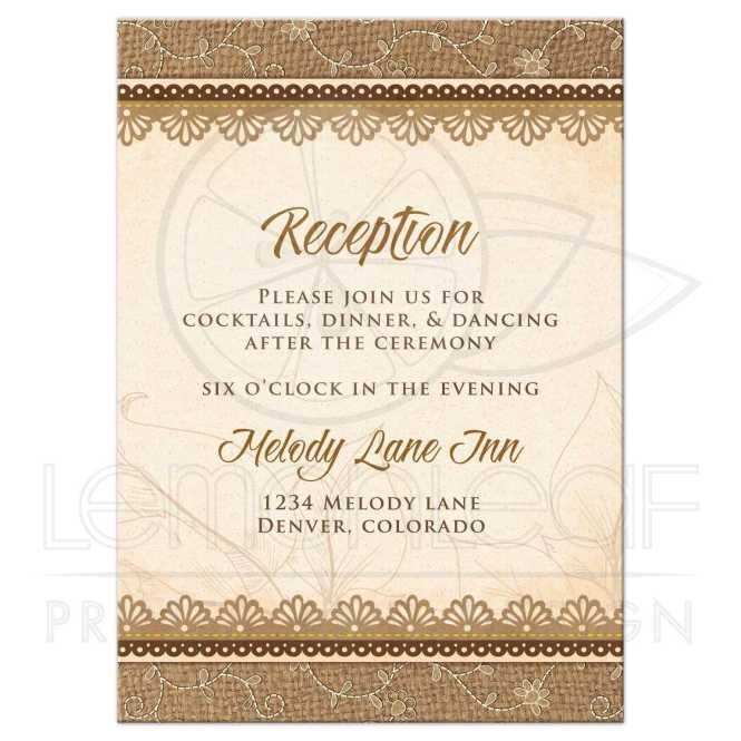 Wedding Reception Card Rustic Burlap Lace Wood