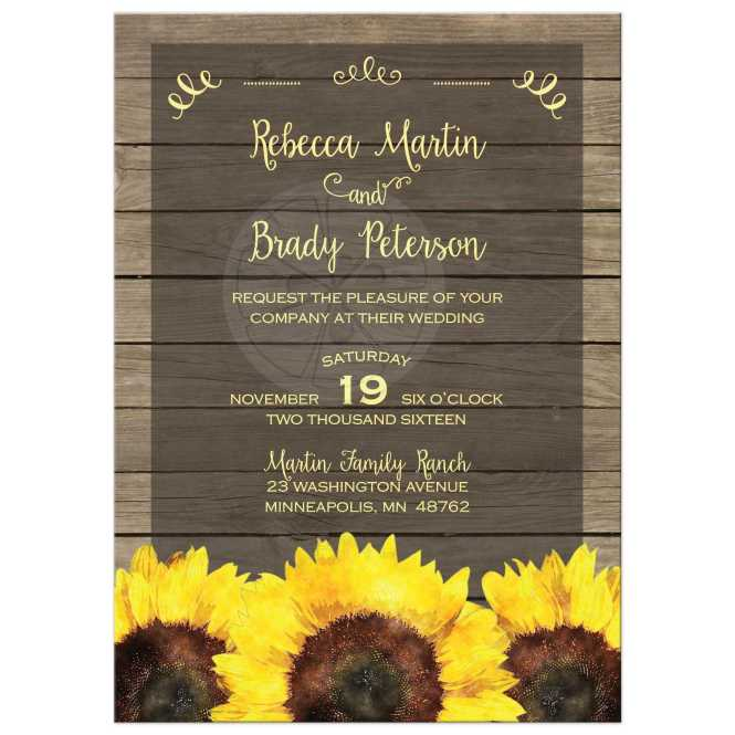 Wedding Invitation Rustic Yellow And Brown Sunflowers On Wood Planks