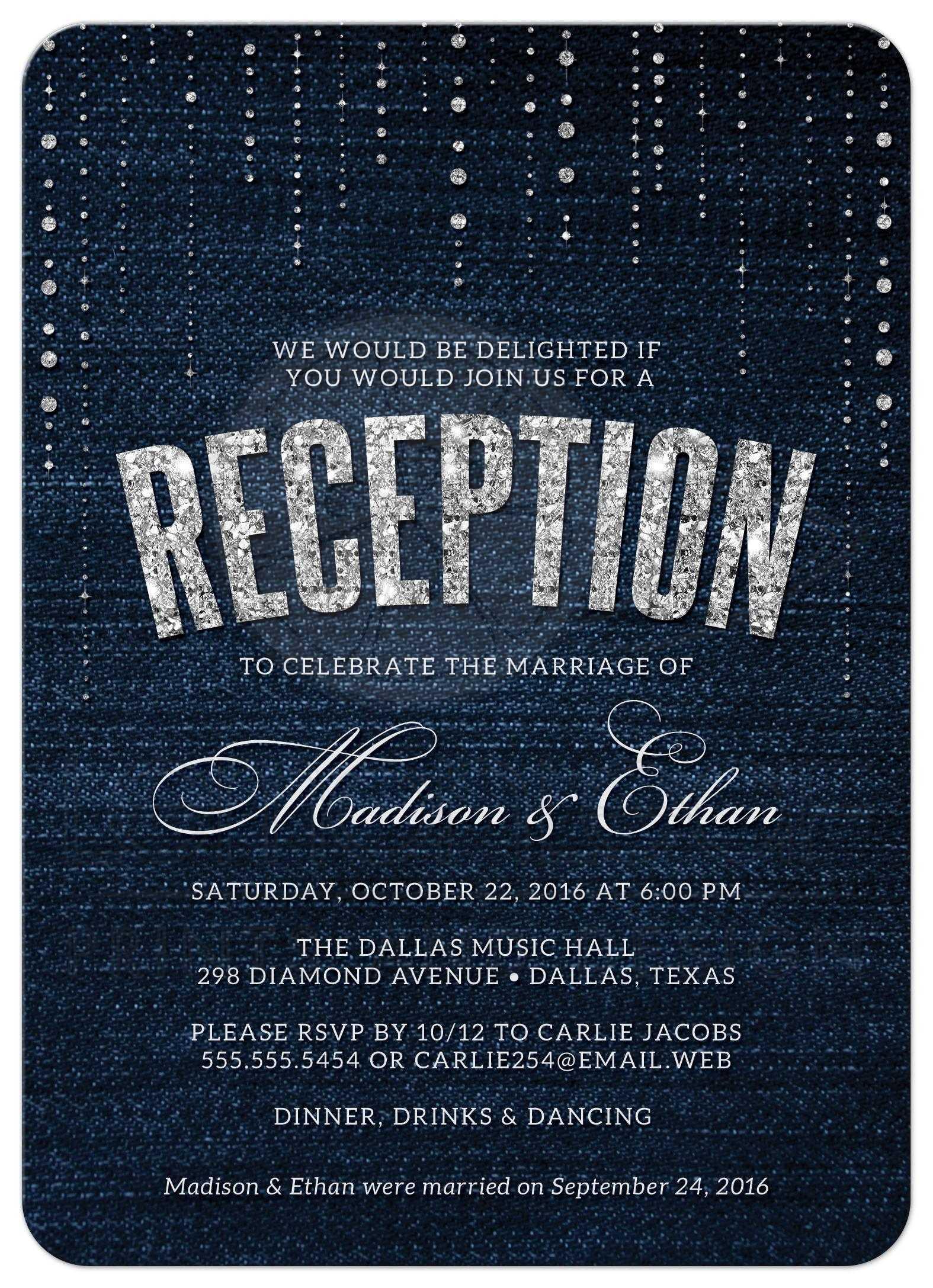Post Wedding Reception Only Invitations Denim Amp Diamonds