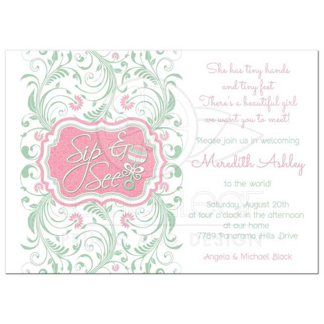 Baby Sip And See Shower Invitation Rattle Mint Pink