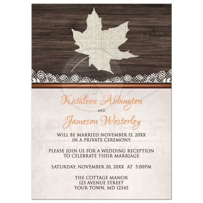 Reception Only Invitations Rustic Autumn Wood Leaf Orange