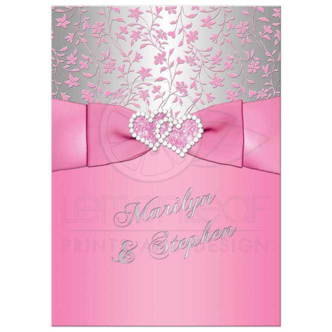 25th Wedding Anniversary Invite Pink Silver Fl Joined Hearts Printed Ribbon