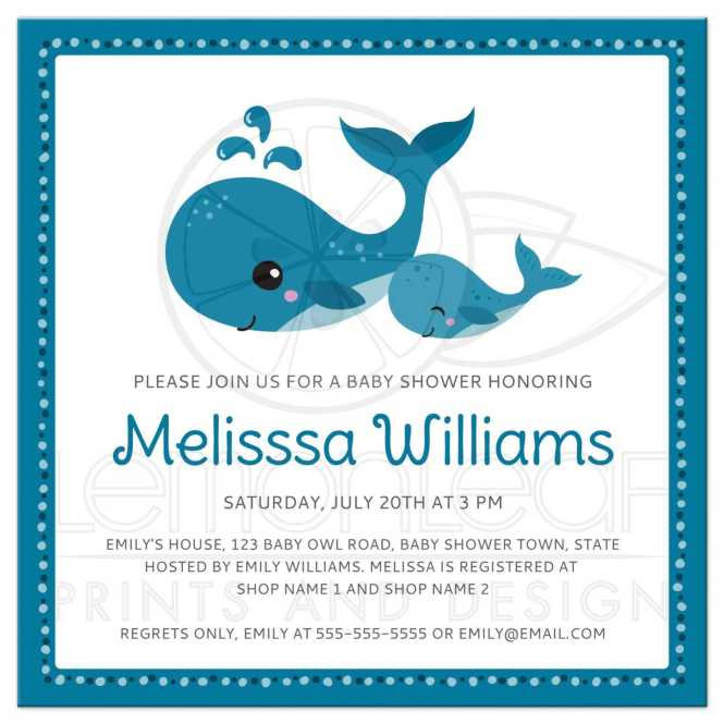 Mommy And Baby Whales Cute Shower Invitation Under The Sea Animal Theme