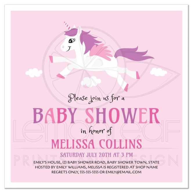 Cute Unicorn Baby Shower Invitation Pink And Purple For S