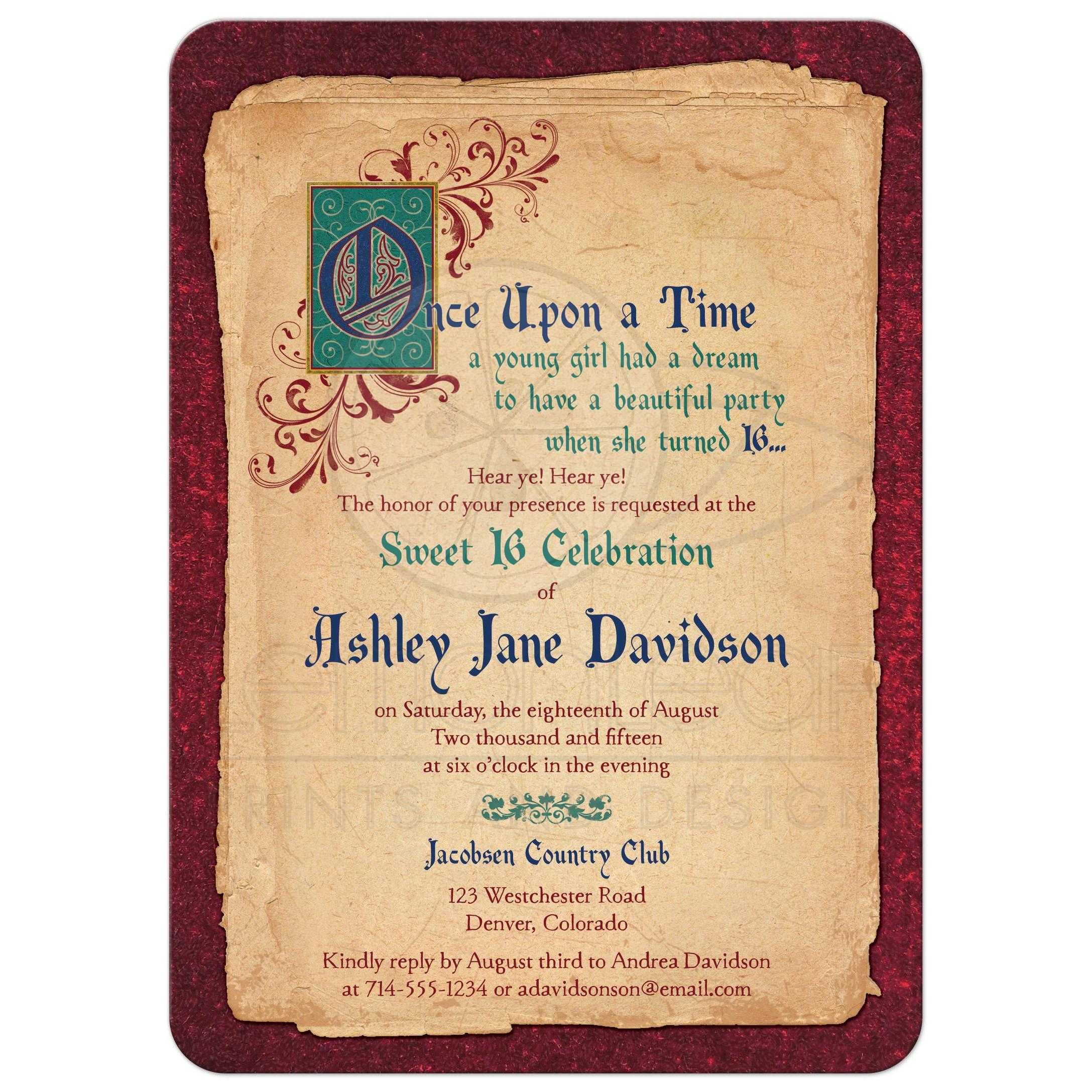 fairy tale sweet 16 invitation medieval once upon a time