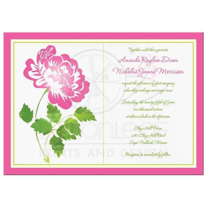 Wedding Invitation Pink Green Ivory And White Fl