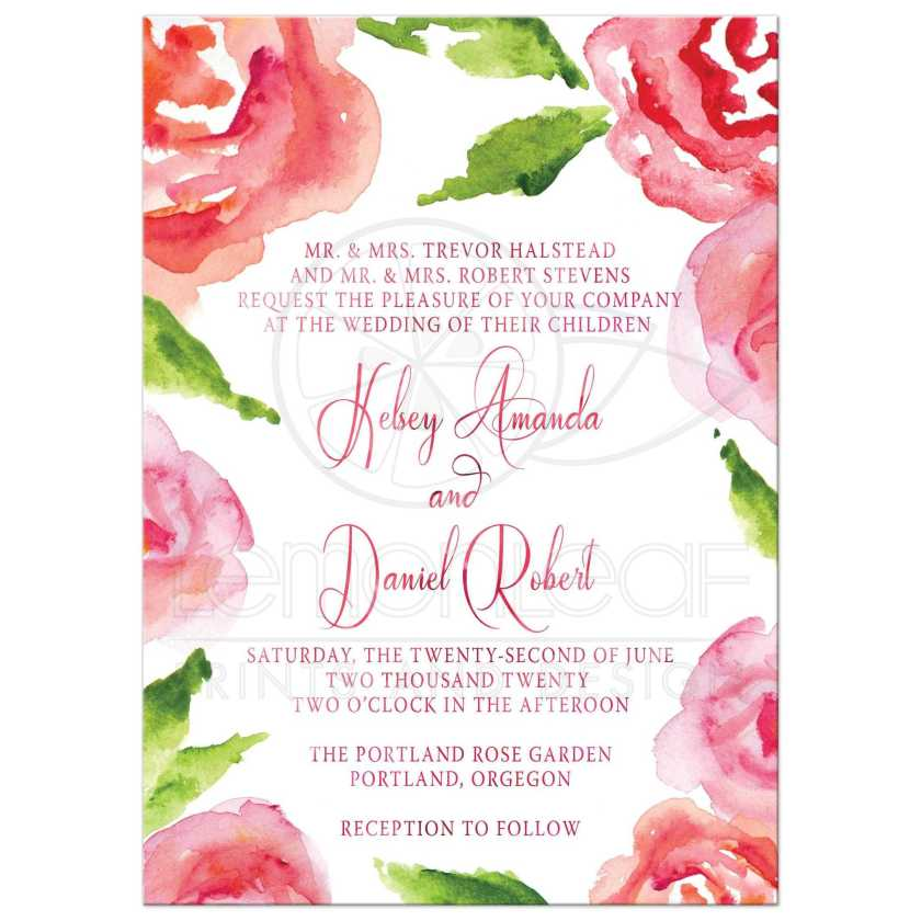 Watercolor Rose Garden Wedding Invitations