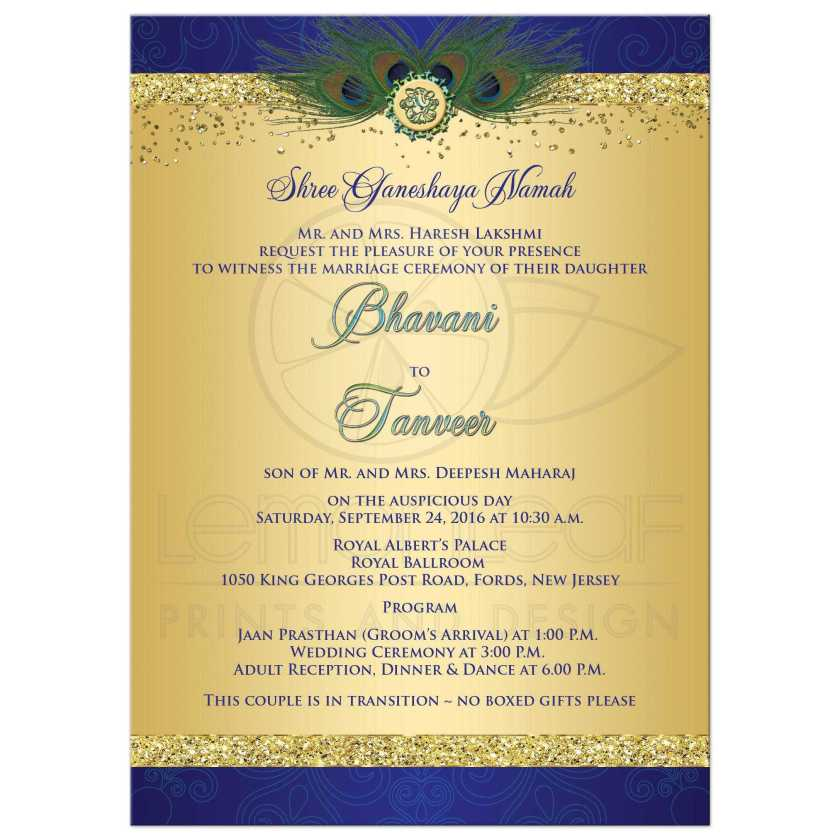 Wedding Invitation Pea Feathers Cascade Faux Gold Glitter Indian In Royal Blue And