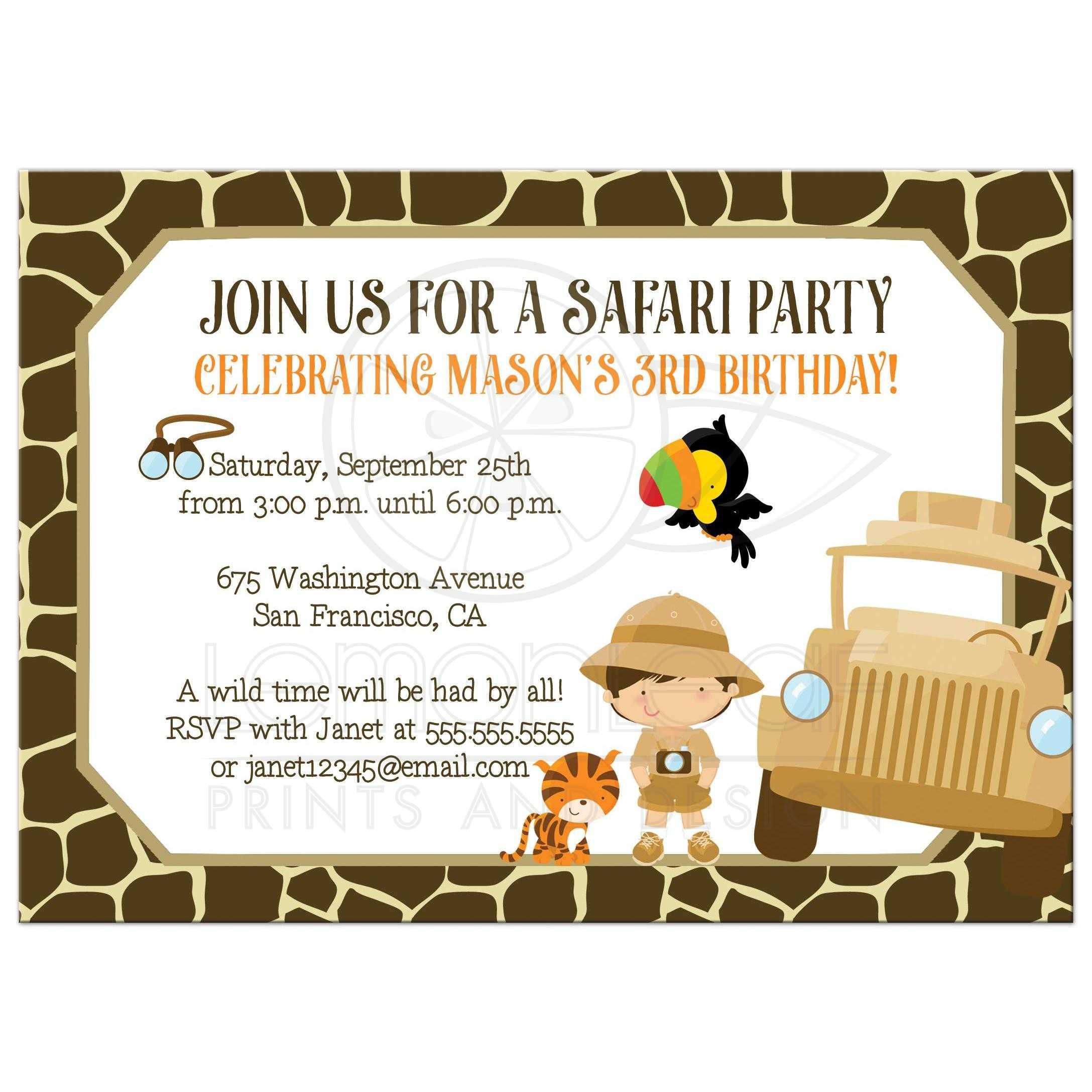 safari birthday party invitation tiger and boy