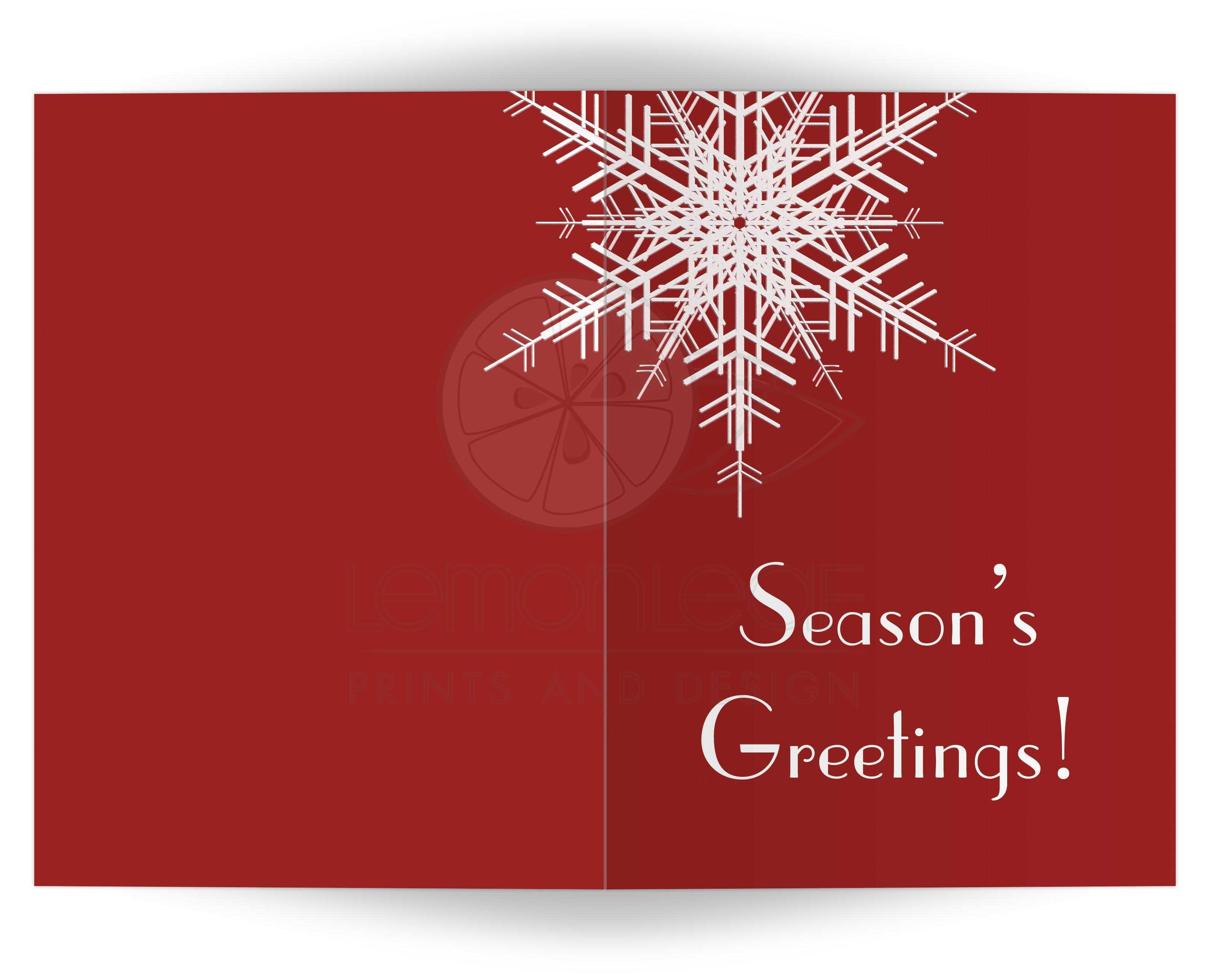 Holiday Card Seasons Greetings Snowflake On Red 5x7