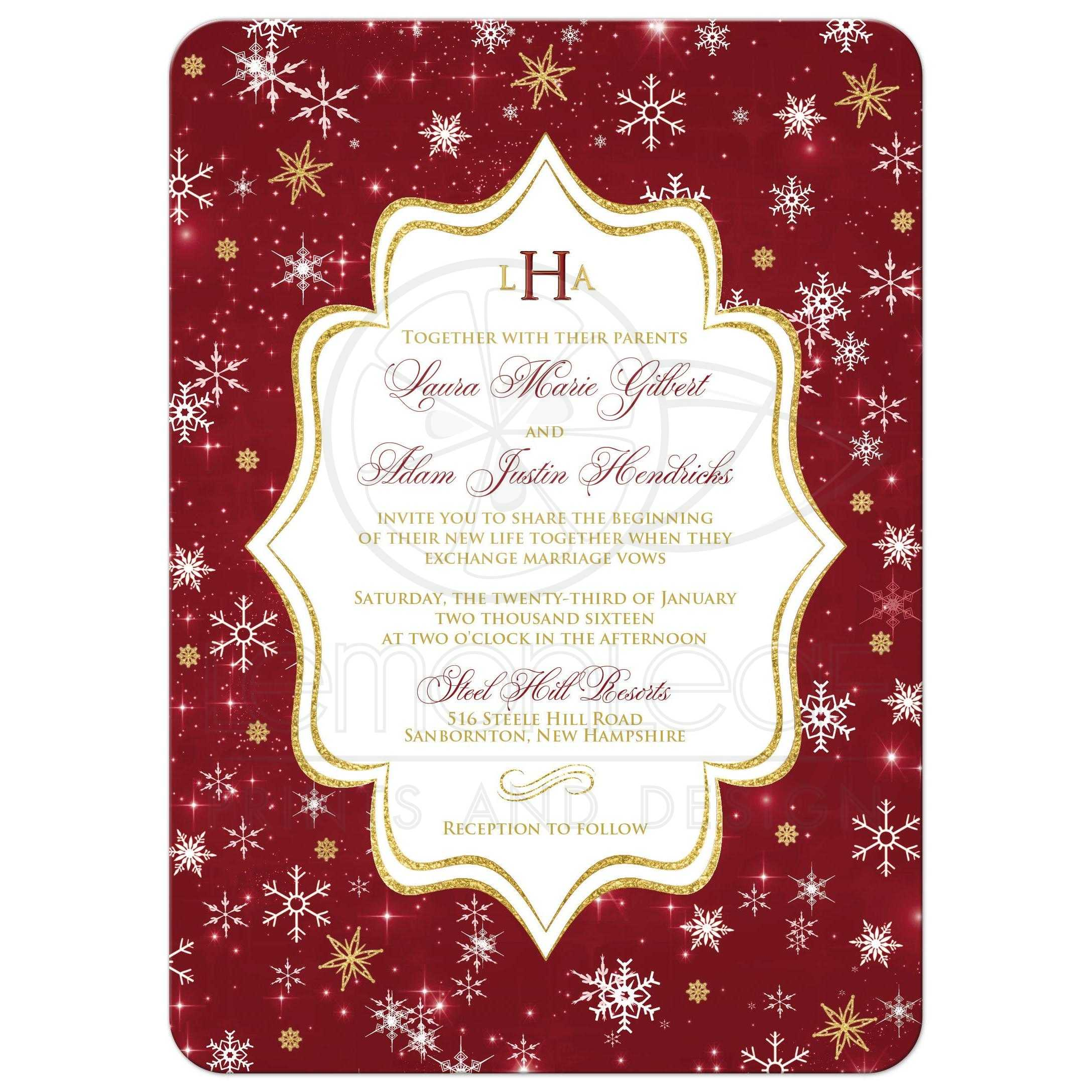 Monogrammed Wedding Invitation Cranberry Gold White