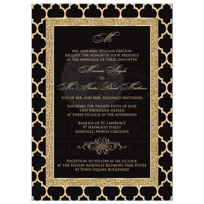 Monogrammed Wedding Invitation Black Gold Quatrefoil Scroll Faux Glitter