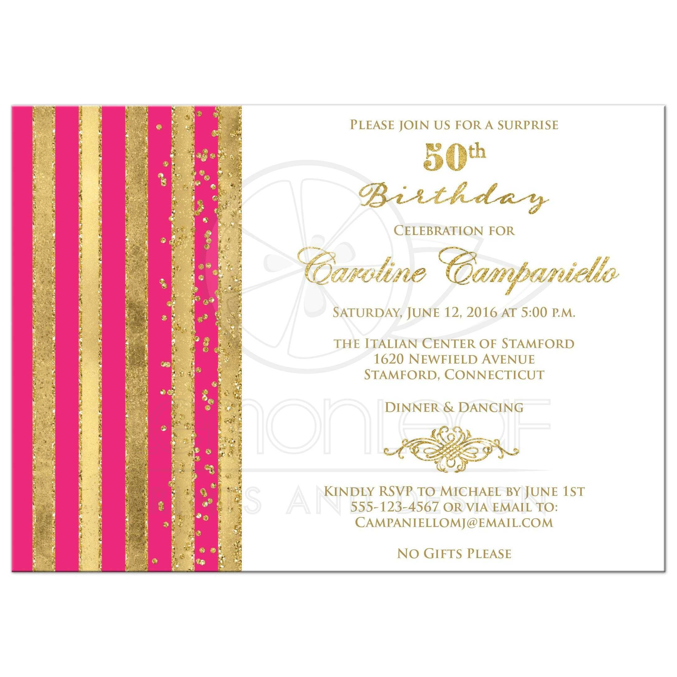 50th birthday invitation hot pink white gold stripes faux glitter simulated gold foil scroll