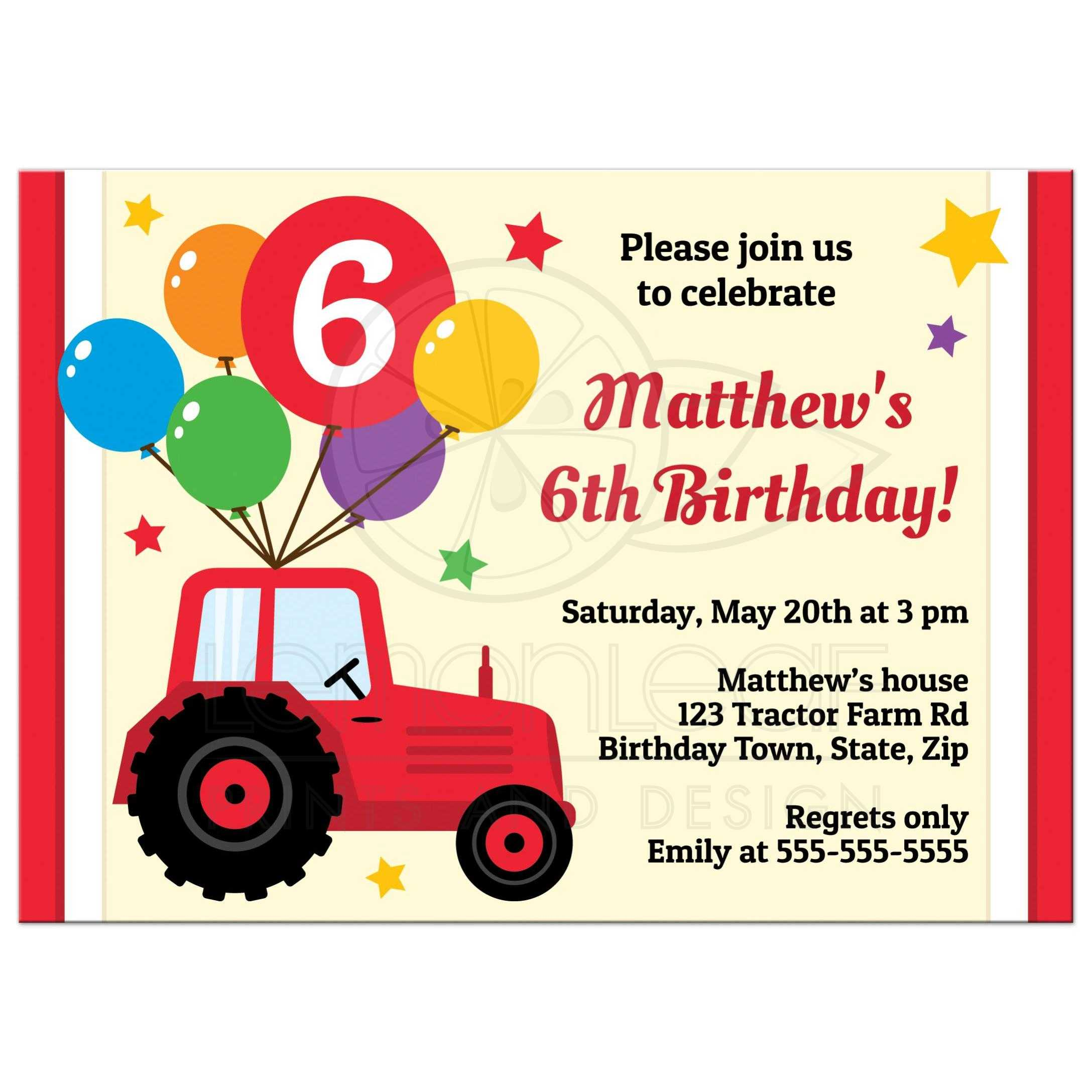 birthday invitation for kids with red tractor balloons and custom age
