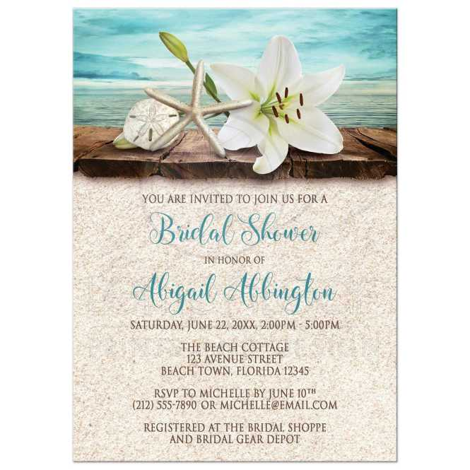 Bridal Shower Invitations Beach Lily Seass And Sand