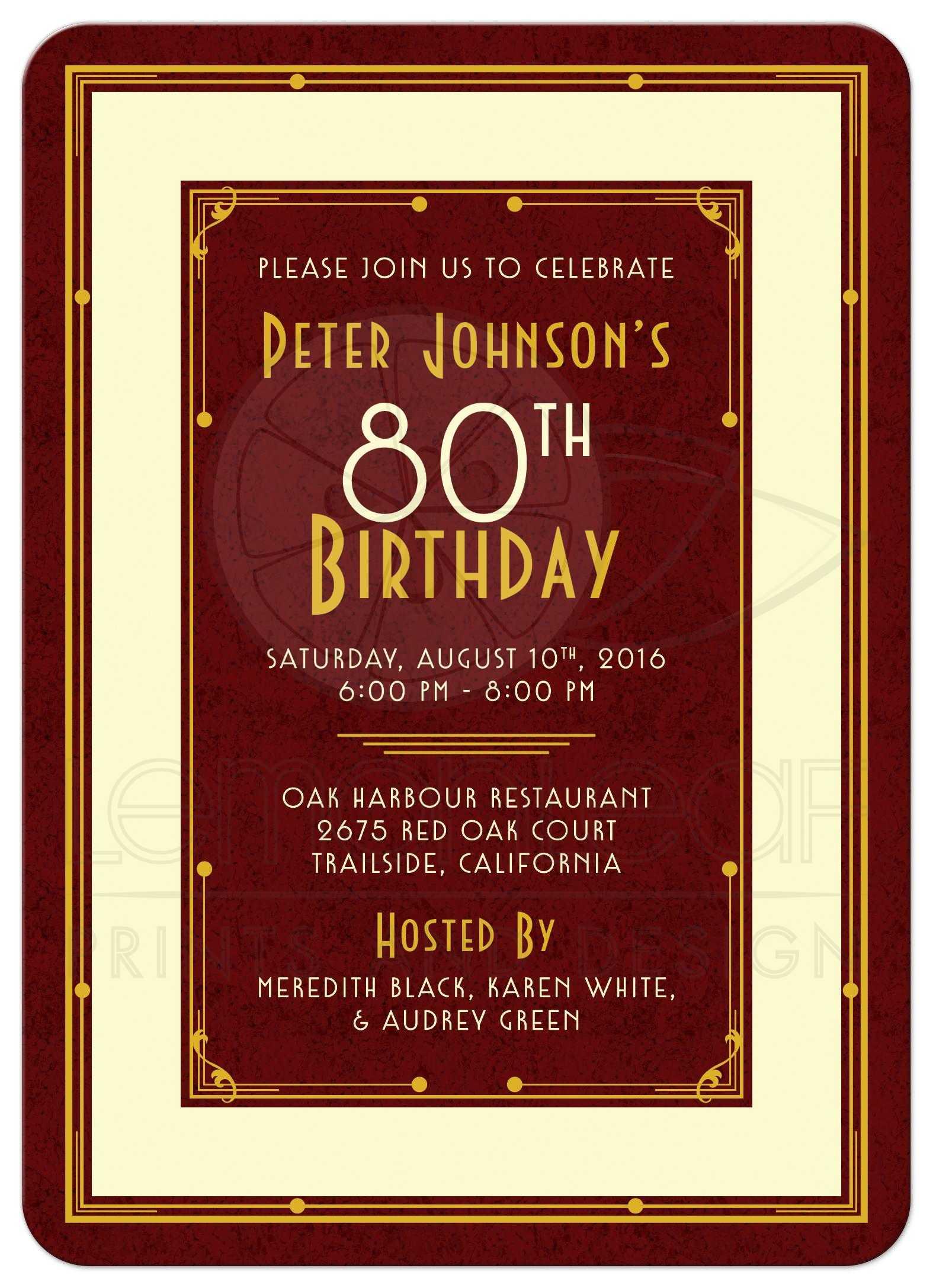 man s 80th birthday invitation maroon gold art deco