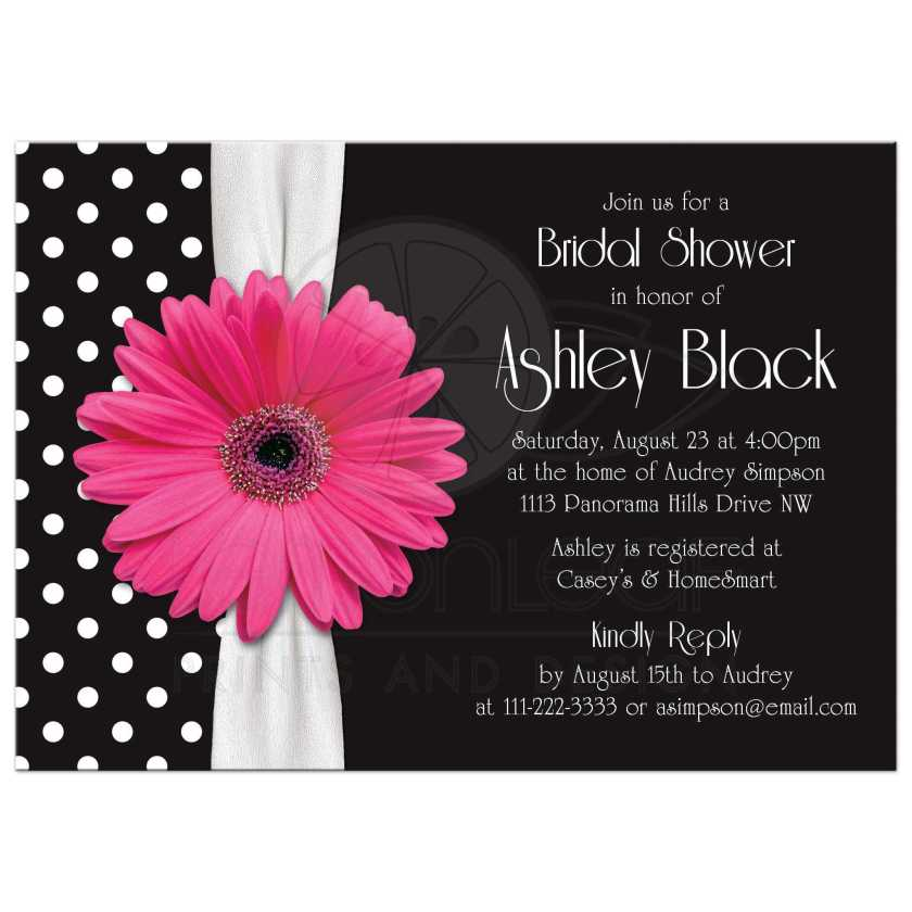 Retro And Chic Black White Polka Dot Pink Gerbera Daisy Bridal Shower Invitation