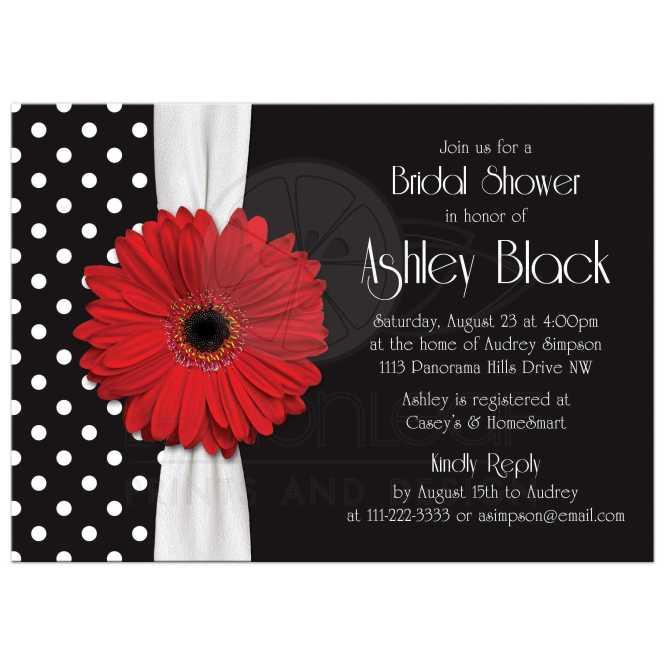 Red Daisy Polka Dot Bridal Shower Invitation Black White