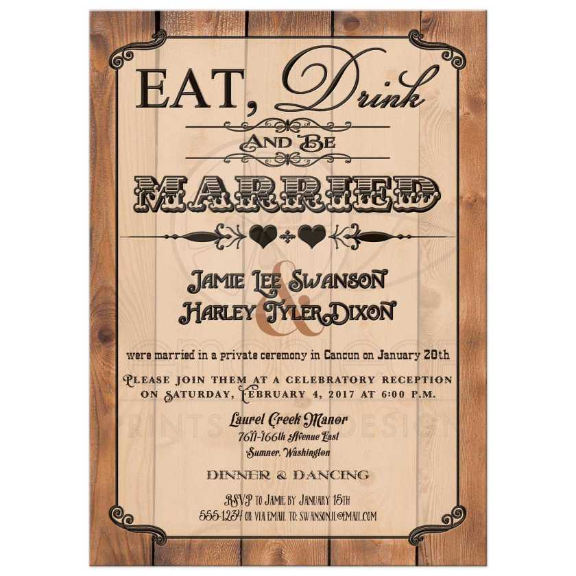 Great Eat Drink And Be Married Vine Poster Style Post Wedding Reception Only Invites With