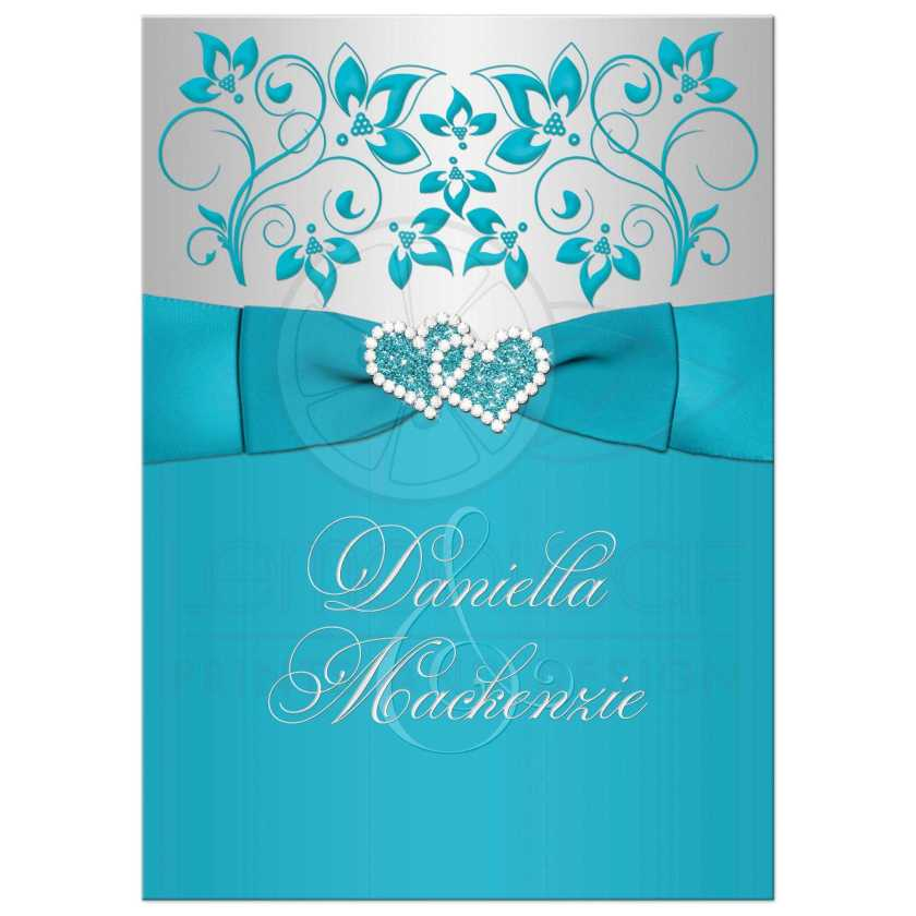 Great Turquoise Or Teal Blue And Silver Gray Fl Wedding Invitations With Joined Jewel Glitter